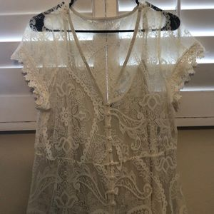 torrid Dresses - IVORY LACE EMBROIDERED MAXI SHIRT DRESS